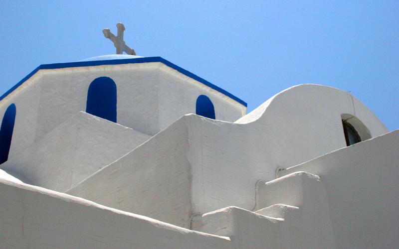 White church in Paros